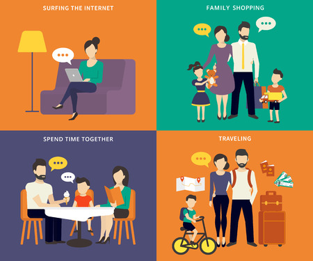 Illustration pour Family with children concept flat icons set of social networking, shopping, traveling and visiting restaurant - image libre de droit