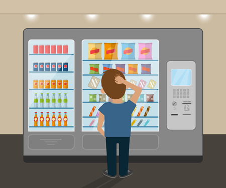 Illustration pour Young man is choosing a snack at vending machine - image libre de droit