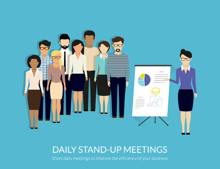 Illustration pour Daily standup meeting with project team and manager. Flat illustration. Text outlined, free font Lato - image libre de droit