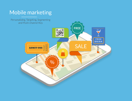 Ilustración de Mobile marketing and personalizing. Smartphone with map and tags. Text outlined, free font Lato - Imagen libre de derechos
