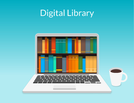 Illustration pour Presentation of laptop with eBooks in the web store - image libre de droit