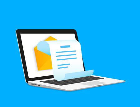 Illustration pour Newsletter illustration with laptop isolated on blue - image libre de droit