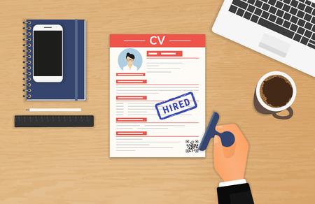 Illustration pour Businessman accepted CV sitting in the office - image libre de droit