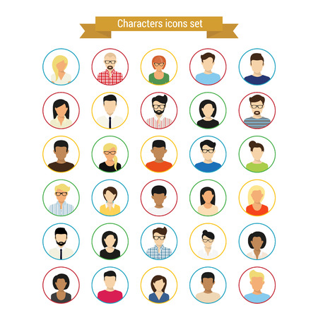 Illustrazione per Vector characres round contour icons set of modern people isolated on white - Immagini Royalty Free