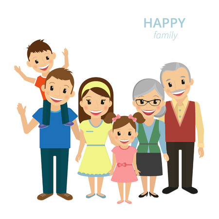 Foto de Vector illustration of happy family. Smiling dad, mom, grandparents and two kids isolated on white - Imagen libre de derechos