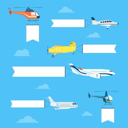 Illustration pour Flat airplanes and helicopters set with white ribbon for text banners - image libre de droit