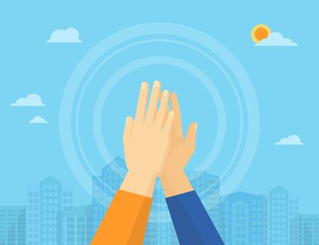 Illustration pour Two hands giving a high five for great work - image libre de droit