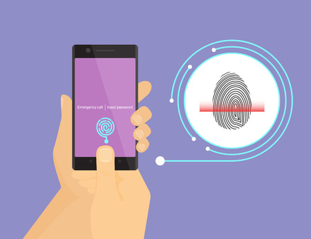 Ilustración de Illustration of digital fingerprint identification on smartphone. - Imagen libre de derechos