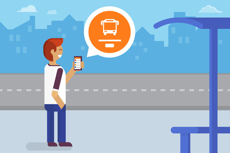 Illustration pour Young man staying on the bus stop and using mobile app for traffic tracking - image libre de droit