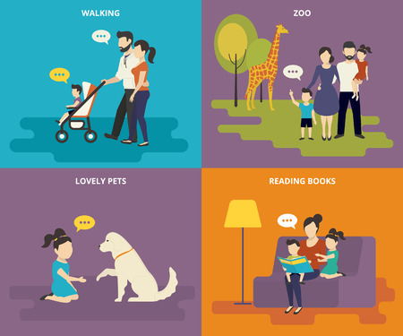 Photo pour Happy parents are playing with children. Family with concept flat icons set of reading books, playing with pet, visiting zoo and walking - image libre de droit