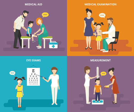 Illustration pour Family healthcare collection. Family concept flat icons set of medical aid, visiting a doctor, eye exams and measurement of growth - image libre de droit
