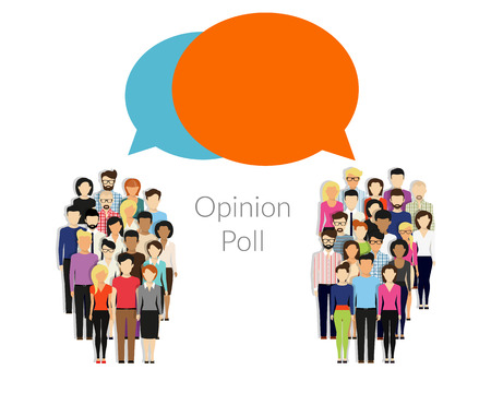 Photo for Opinion poll flat illustration of two groups of people and speech bubbles between them - Royalty Free Image
