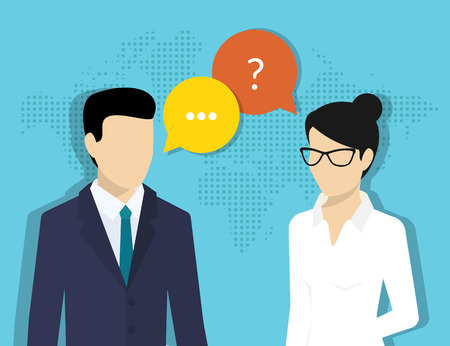 Illustration pour Consulting business. Flat illustration of business woman and male consultant with speech bubbles - image libre de droit