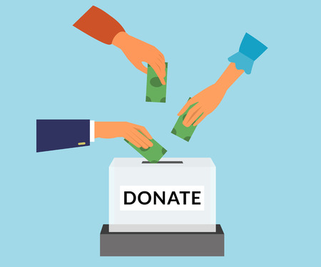 Illustration for Charity donation funding social responsibility flat illustration. Donors hands put money into the box. - Royalty Free Image