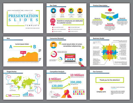 Ilustración de Business  bright and colourful infographics presentation slides template with flat illustrations of handshake, competition, laptop, diagrams and chart - Imagen libre de derechos