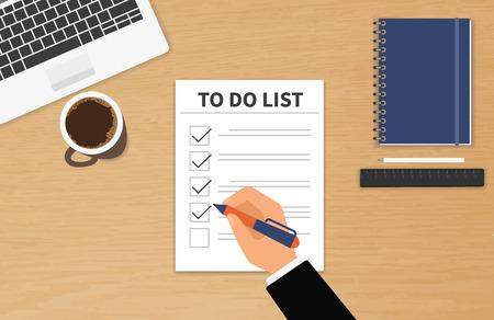 Illustration pour Businessman sitting at his desktop and fulfilling his work checklist - image libre de droit