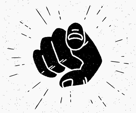 Illustration pour Retro human hand with the finger pointing or gesturing towards you. Vintage hipster illustration isolated on white background - image libre de droit