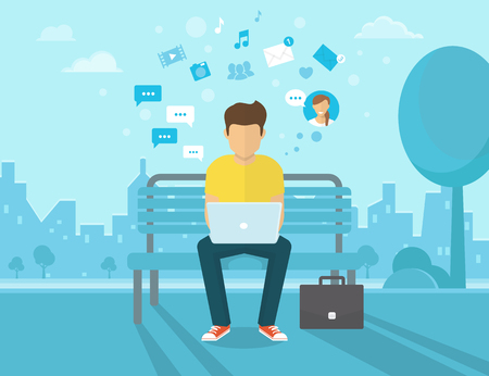 Ilustración de Young man sitting in the street and working with laptop. Flat modern illustration of social networking and texting to friends - Imagen libre de derechos