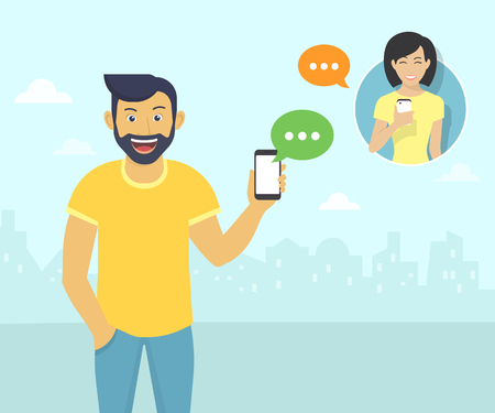 Illustration pour Happy guy wearing beard is sending messages via messenger app to young girl. Flat illustration of people communication with sms bubbles - image libre de droit