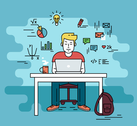 Illustration pour Man is working with laptop. Flat line contour illustration of student studying process sitting at home. Young man with social media and education infographics symbols such as chart, diagram, graph - image libre de droit