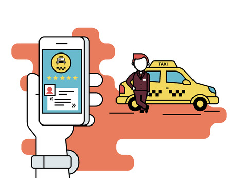 Ilustración de Flat line contour illustration concept process of booking taxi via mobile app. Human hand holds a smartphone with taxi app and reading a comment and rate the taxi driver. Yellow car and driver behind - Imagen libre de derechos