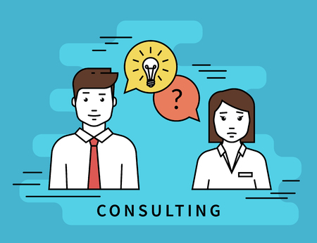 Illustration pour Consulting business. Flat line contour illustration of business woman and male consultant with question and idea speech bubbles - image libre de droit