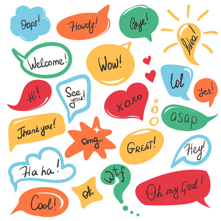 Ilustración de Hand drawn speech bubbles and stickers set with handwritten short messages and friendly phrases isolated on white - Imagen libre de derechos