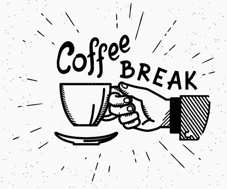 Ilustración de Retro coffee break crafted illustration with handwritten script and vintage stylized human hand holds a cup of hot coffee - Imagen libre de derechos
