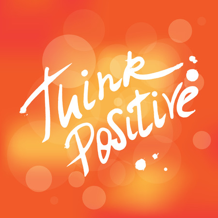 Illustrazione per Think positive handwritten design element for motivation and inspirational poster, t-shirt and banners. Hand drawn lettering quote isolated on orange unfocused background - Immagini Royalty Free