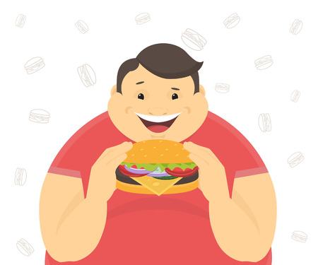 Illustrazione per Happy fat man eating a big hamburger. Flat concept illustration of bad habits isolated on white background with contour burger symbols - Immagini Royalty Free