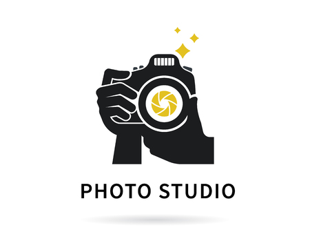 Illustration pour Photographer hands with camera icon or template. Flat illustration of lens camera shooting macro image with flash and text ideal photo - image libre de droit