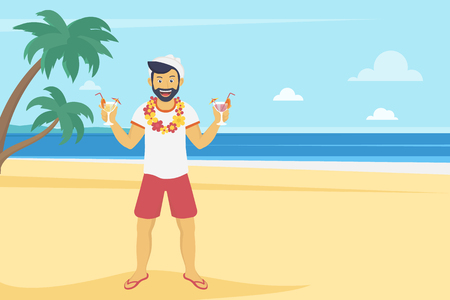 Illustration pour Happy young man enjoying and drinking cocktails on the beach with palm trees. Landscape illustration in flat modern style of summer vacation and traveling - image libre de droit