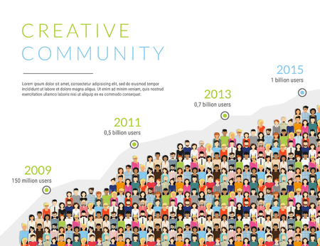 Illustration for Group of creative people for presentation of community membership or world people population. Flat modern infographic illustration of community members growth timeline isolated on white background - Royalty Free Image