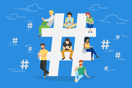 Ilustración de Hashtag concept illustration of young various people using mobile gadgets such as tablet pc and smartphone for hashtags sharing via internet. Flat design of guys and women near big hashtag symbol - Imagen libre de derechos