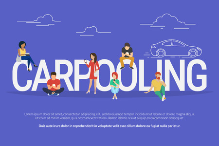 Illustration pour Carpooling concept illustration of people using mobile gadgets such as tablet pc and smartphone to rent a car via carpooling service. Flat design of guys and women standing near big letters - image libre de droit