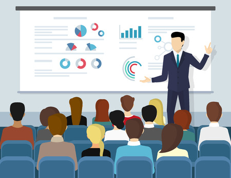 Ilustración de Business seminar speaker doing presentation and professional training about marketing, sales and e-commerce. Flat illustration of public conference and motivation for business audience - Imagen libre de derechos