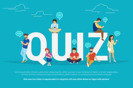 Illustration pour Quiz flat concept illustration of young people using mobile gadgets such smartphone for texting, messaging and sharing data between each other via internet near quiz big letters with speech bubbles - image libre de droit