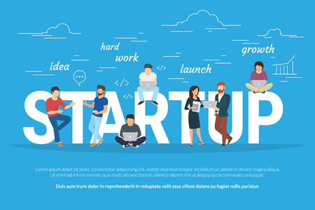 Foto de Startup concept flat illustration of business people working as team to launch the business. Young men have an idea, programmer works hard, managers and others promote the project using laptops - Imagen libre de derechos