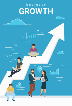 Ilustración de Business growth concept illustration of business people working together as team and sitting on the big arrow. Flat people working with laptops to develop business. Blue business poster - Imagen libre de derechos