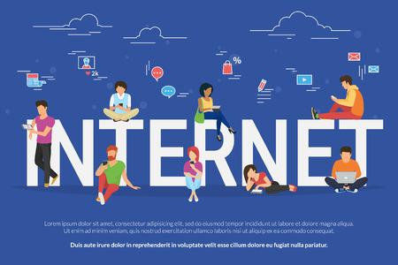 Ilustración de Internet addicted people concept illustration - Imagen libre de derechos