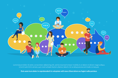 Ilustración de Speech bubbles for comment and reply concept flat vector illustration - Imagen libre de derechos