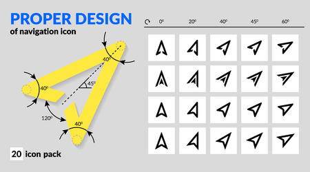 Illustration pour Navigation icon set proper design for map and route navigation in mobile app and web. Various types of arrow sign line and fill. Icon pack of vector map explorer isolated and rotated for navigators - image libre de droit