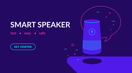 Ilustración de Smart speaker, voice command device with integrated virtual assistant. Flat vector neon website template and landing page design of speaker with speech bubble and message - Imagen libre de derechos
