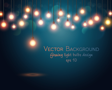 Illustration for Glowing light bulbs design. Abstract background. Vector illustration - Royalty Free Image