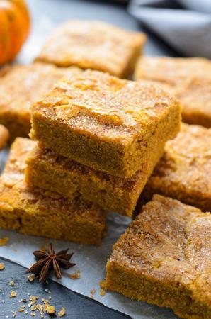 Photo pour Pumpkin Bars with Cinnamon Sugar Crust, Freshly Baked Spiced Pumpkin Blondies - image libre de droit