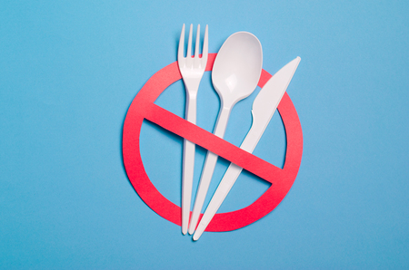 Foto de Say No to Plastic Cutlery, Plastic Pollution and Environmental Protection Concept, Top View - Imagen libre de derechos