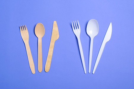 Photo for Plastic and Bamboo Cutlery, Plastic Pollution and Environmental Protection Concept, Top View - Royalty Free Image