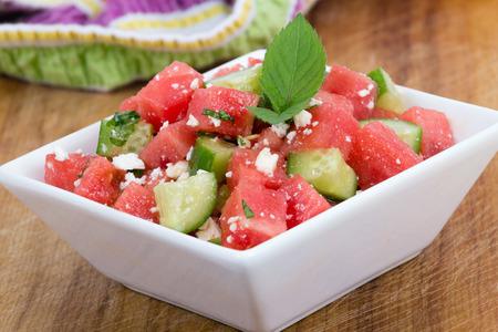 Photo pour Healthy Fresh Watermelon Salad with Mint and Cucumber - image libre de droit