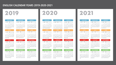 Illustration for English calendar 2019-2020-2021 vector template text is outline - Royalty Free Image