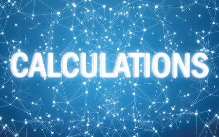 Photo pour Calculations interface on blue network background - image libre de droit